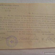 Militaria: GUERRA CIVIL - CARLISMO - REQUETÉ : INVITACION NUEVA SEDE DE PELAYO DE BURGOS, 1937. Lote 58517103