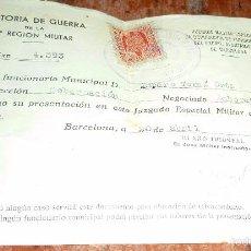 Militaria: AUDITORIA DE GUERRA 4 REGION MILITAR DEPURACION DE FUNCIONARIOS . AYUNTAMIENTO BARCELONA . 1939. Lote 58999835