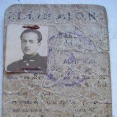 Militaria: GUERRA CIVIL : CARNET PROVISIONAL DE FALANGE DE MILITAR DE AVIACION NACIONAL. 1939. Lote 62276004