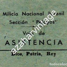 Militaria: BURGOS,GUERRA CIVIL - CARLISMO - REQUETÉ : VALE DE ASISTENCIA DE MILICIAS NACIONALES PELAYOS. Lote 62351224