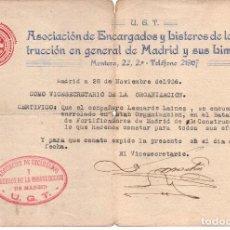 Militaria: MADRID ,U.G.T. CERTIFICADO ALISTAMIENTO, VER FOTO. Lote 63298744