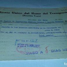 Militaria: ANTIGUA FACTURA SINDICATO UNICO DEL RAMO DEL TRANSPORTE - CNT - AIT - 1937, TRANVIAS BARCELONA.. Lote 64100583