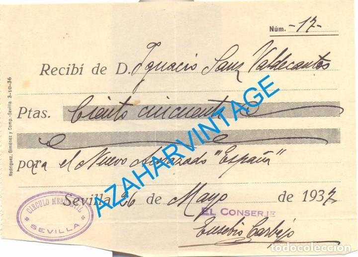 SEVILLA, 1937, GUERRA CIVIL, DONATIVO PARA EL NUEVO ACORAZADO ESPAÑA (Militar - Guerra Civil Española)