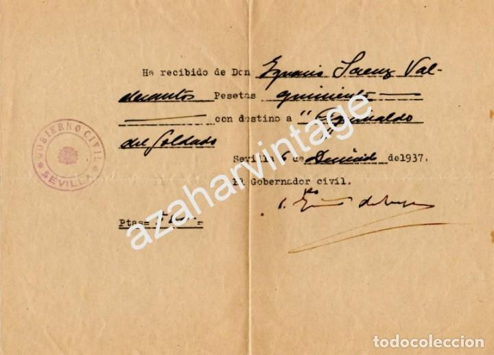 SEVILLA,1937, GUERRA CIVIL, DONATIVO AGUINALDO DEL SOLDADO (Militar - Guerra Civil Española)