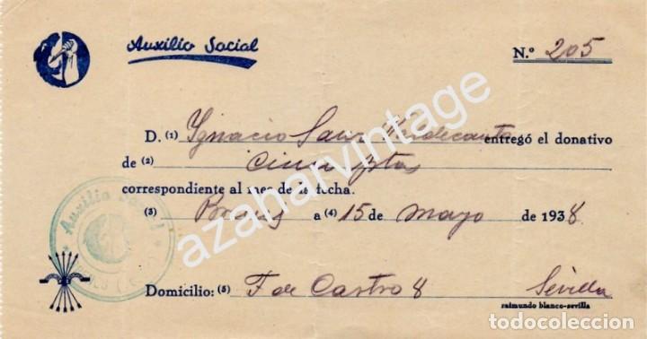 BRENES, SEVILLA, 1938, GUERRA CIVIL, DONATIVO A AUXILIO SOCIAL (Militar - Guerra Civil Española)