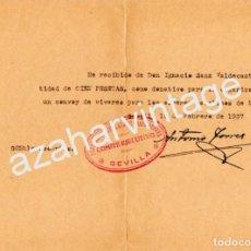 Militaria: SEVILLA, 1937, GUERRA CIVIL, DONATIVO PARA CONVOY DE VIVERES PARA OBREROS CATOLICOS DE MADRID. Lote 66158082