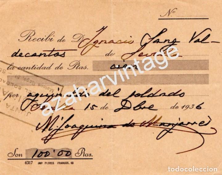 SEVILLA,1936, GUERRA CIVIL, DONATIVO AGUINALDO DEL SOLDADO (Militar - Guerra Civil Española)