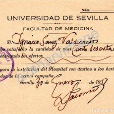 Militaria: SEVILLA, 1937, GUERRA CIVIL, DONATIVO PARA INSTALACION HOSPITAL HERIDOS DE CAMPAÑA. Lote 66332802
