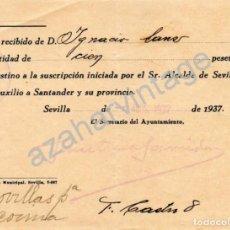 Militaria: SEVILLA, 1937, GUERRA CIVIL, DONATIVO PARA AUXILIO A SANTANDER Y SU PROVINCIA. Lote 66333474