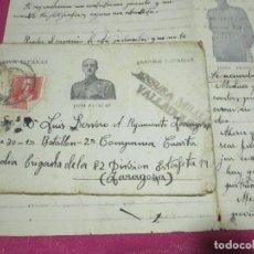 Militaria: CARTA PARA UN SOLDADO DEL BATALLÓN 2 COMPAÑIA CENSURA MILITAR 1938 ZARAGOZA. Lote 68405773