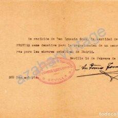 Militaria: SEVILLA, 1937, GUERRA CIVIL, DONATIVO PARA CONVOY DE VIVERES PARA OBREROS CATOLICOS DE MADRID. Lote 68501813