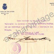 Militaria: SEVILLA, 1937, GUERRA CIVIL, DONATIVO A OBRA CULTURAL Y BENEFICA DE LOS PELAYOS, REQUETE,RARA. Lote 68506109