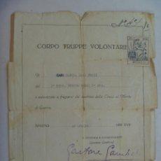 Militaria: GUERRA CIVIL : CERTIFICADO MEDALLA CRUZ MERITO DE GUERRA, FLECHAS VERDES , CTV. FIRMA GAMBARA.. Lote 69967245