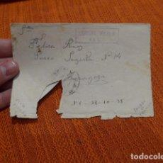 Militaria: ANTIGUO SOBRE DE 1938 CON CENSURA MILITAR DE JACA, GUERRA CIVIL.. Lote 73077519