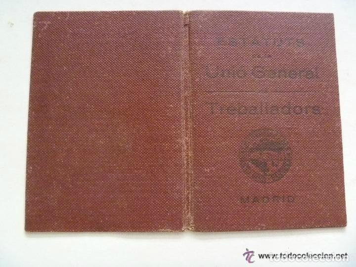 GUERRA CIVIL : CARNET DE AFILIADO A LA UGT , EN CATALAN . BARCELONA , 1937 (Militar - Guerra Civil Española)