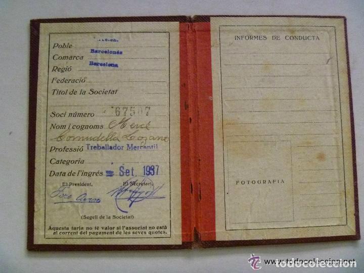 Militaria: GUERRA CIVIL : CARNET DE AFILIADO A LA UGT , EN CATALAN . BARCELONA , 1937 - Foto 2 - 75253819