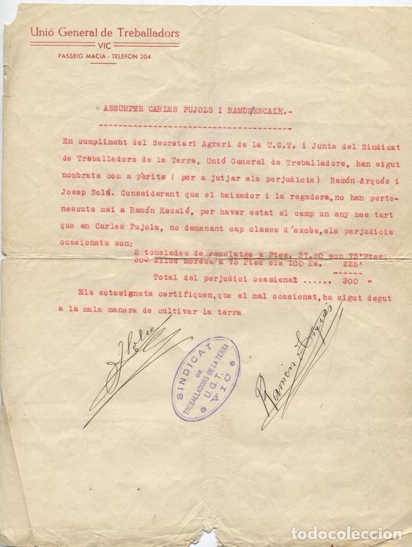 DOCUMENTO DE LA UGT SINDICAT DE TREBALLADORS DE LA TERRA. VIC. GUERRA CIVIL. (Militar - Guerra Civil Española)