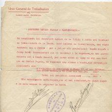 Militaria: DOCUMENTO DE LA UGT SINDICAT DE TREBALLADORS DE LA TERRA. VIC. GUERRA CIVIL.. Lote 76016675