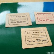 Militaria: LOTE 3 VALES PARA PANADERÍA. ESTEBAN BUITRAGO. CARRIÓN DE CALATRAVA (CIUDAD REAL). Lote 76757463