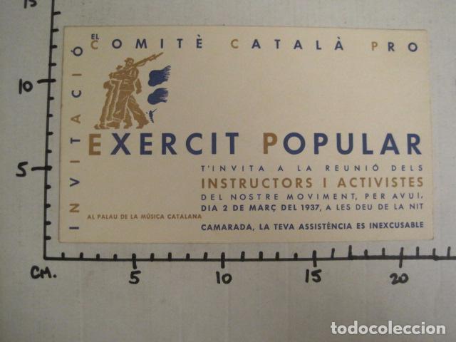 Militaria: GUERRA CIVIL-INVITACIO COMITE CATALA PRO EXERCIT POPULAR-1937-PALAU DE LA MUSICA-VER FOTOS-(V- 9517) - Foto 6 - 78639253