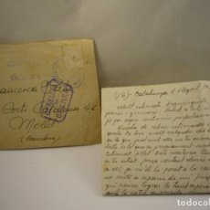 Militaria: CARTA ESCRITA CENSURA MILITAR 1 AUGUSTO 1938 . Lote 81146372