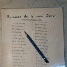 Militaria: GUERRA CIVIL ROMANCE DE LA NIÑA DURRUTI. JUAN GIL-ALBERT.. Lote 81198384