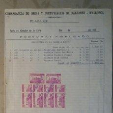 Militaria: COMANDANCIA DE OBRAS Y FORTIFICACIONES DE BALEARES. MALLORCA. Lote 81712687