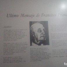 Militaria: ULTIMO MENSAJE FRANCISCO FRANCO. Lote 85205744