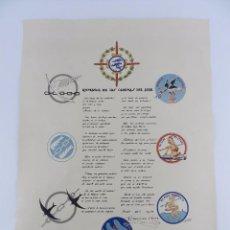 Militaria: CARTEL ORIGINAL ROMANCE DE LAS CADENAS DEL AIRE, AVIACION, GUERRA CIVIL 1938, ILUSTRACIONES DE E. AL. Lote 85982984