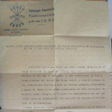 Militaria: GUERRA CIVIL - FALANGE : CERTIFICADO CAMARADA PRIMERA LINEA HERIDO. SEVILLA, 1940. Lote 88977612