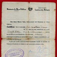 Militaria: DOCUMENTO GUERRA CIVIL , 1937 , MINISTERIO OBRAS PUBLICAS , CONSTRUCCION REFUGIOS , ORIGINAL . Lote 88994308