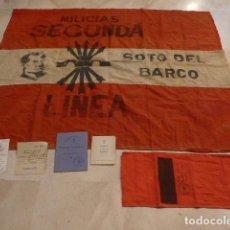 Militaria: * LOTE MILICIAS FALANGE DE GUERRA CIVIL: BANDERA, BRAZALETE, CARNETS... SOTO DEL BARCO, ASTURIAS. ZX. Lote 91652685