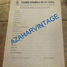 Militaria: GUERRA CIVIL, FICHA DE FILIACION DE FALANGE EN BLANCO, REVERSO JURAMENTO, . Lote 93019530