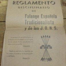 Militaria: BURGOS, 1938, REGLAMENTO DISCIPLINARIO DE FALANGE ESPAÑOLA, 8 PAGINAS. Lote 93247350