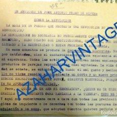 Militaria: FALANGE, ARTICULO DE JOSE ANTONIO PRIMO DE RIVERA SOBRE LA REVOLUCION, 4 HOJAS. Lote 94122690