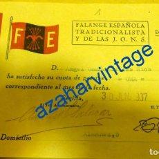 Militaria: GUERRA CIVIL - FALANGE : RECIBO CUOTA , FE DE LAS JONS . SEVILLA, 1937. Lote 94154305