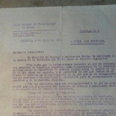 Militaria: GUERRA CIVIL ,DOCUMENTO UNION GENERAL DE TRABAJADORES. VALENCIA 1937 CIRCULAR N° 9. Lote 101700403