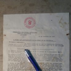 Militaria: GUERRA CIVIL DOCUMENTO, FEDERACIÓN PROVINCIAL SOCIALISTA. ALICANTE 1937.GUERRA CIVIL. Lote 101700616