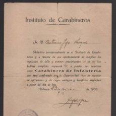 Militaria: VALENCIA, INSTITUTO CARABINERO, ADMITIDO. CARABINERO DE INFANTERIA, DICIEMBRE 1936, VER FOTO. Lote 102682179