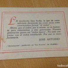 Militaria: ANTIGUA TARJETA FRASE JOSE ANTONIO FALANGE ESPAÑOLA REVOLUCION. Lote 103041503