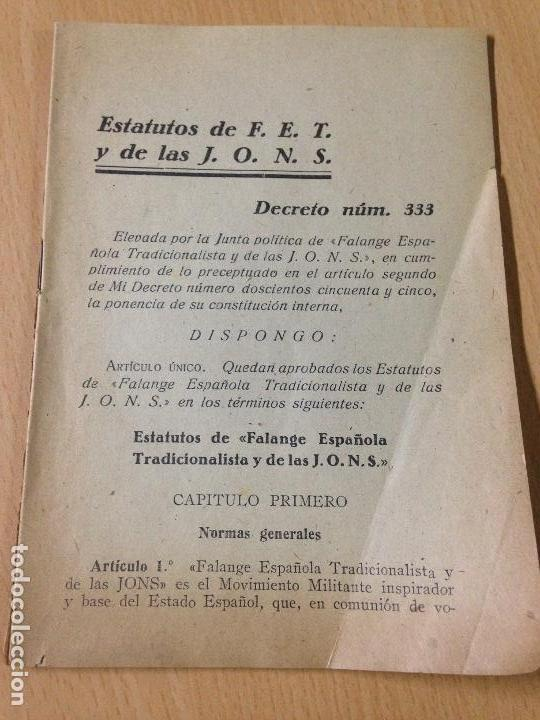 ESTATUTOS FALANGE ESPAÑOLA JONS FRANQUISMO FRANCO (Militar - Guerra Civil Española)