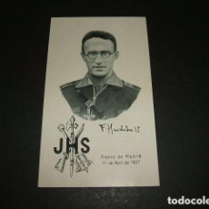 Militaria: GUERRA CIVIL RECORDATORIO FERNANDO HUIDOBRO CAPELLAN VOLUNTARIO LEGION MADRID 1937 CUESTA PERDICES . Lote 103289671