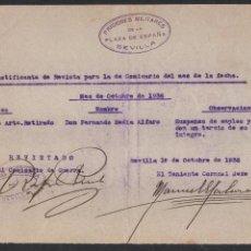 Militaria: SEVILLA, PRISIONES MILITARES PLAZA DE ESPAÑA, FIRMAS ORIGINALES, FECHA: 1º OCTUBRE 1936, VER FOTO. Lote 103429695