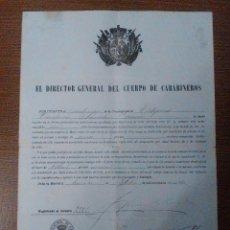 Militaria: MADRID,EL DIRECTOR GENERAL DEL CUERPO DE CARABINEROS, FIRMAS ORIGINALES, 1904, POLIZA 1 PTA.VER FOTO. Lote 103674039