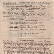 Militaria: GRUPO DE TIRADORES DE IFNI Nº 6. DECLARACION JURADA, VER FOTOS. Lote 103680559