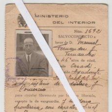 Militaria: MINISTERIO DEL INTERIOR, SALVOCONDUCTO GUERRA CIVIL ESPAÑOLA, NOVIEMBRE 1938, EXPEDIDO EN BURGOS. Lote 103776143