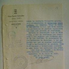 Militaria: GUERRA CIVIL : FALANGE , CERTIFICADO CONDUCTA PAISANO DE MONTEFRIO , IZQUIERDISTA PELIGROSO. 1939. Lote 103816319