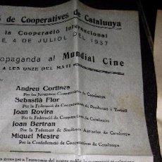 Militaria: CIRCULAR . CONFEDERACIÓ DE COOPERATIVES DE CATALUNYA . 1937 GUERRA CIVIL . IGUALADA PROPAGANDA. Lote 104394215