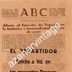 Militaria: GUERRA CIVIL, FELICITACION EL REPARTIDOR DE ABC, MUY RARA,142X196MM. Lote 104426291