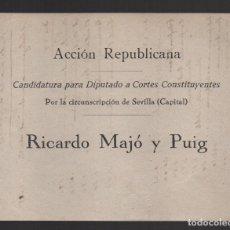 Militaria: ACCION REPUBLICANA, CANDIDATURA, RICARDO MAJO Y PUIG, MIDE: 13 X 11 C.M. VER FOTO. Lote 104509583